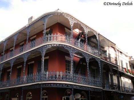 Buildings with wrought iron balconies is typical of the French Quarter