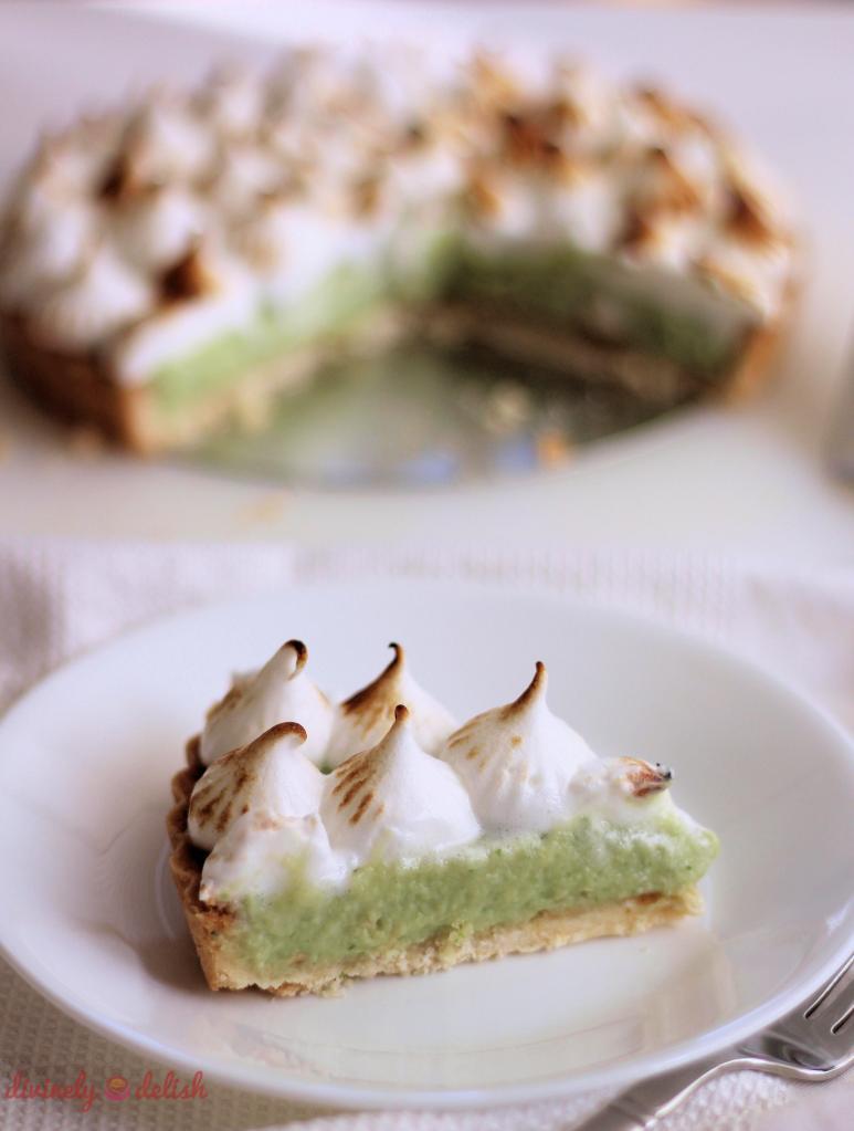 slice of Pandan Custard Meringue Tart