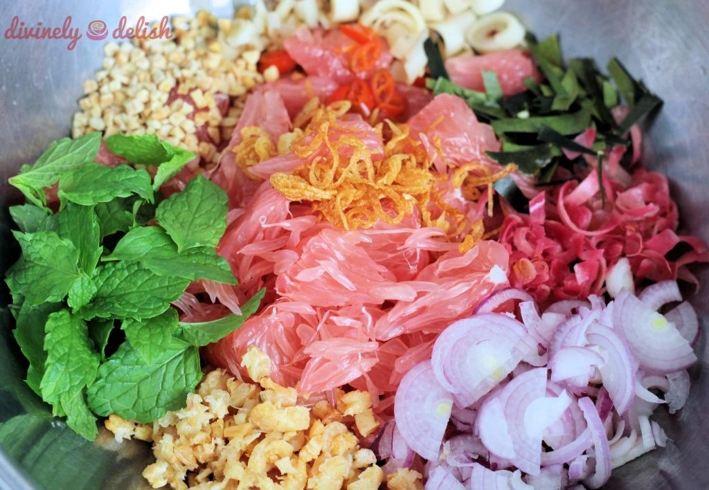 Ingredients for a Thai-inspired Pomelo Salad